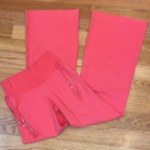 Guess Light Cotton Wide Leg Pull On Coral Pants